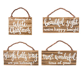 WOOD ORNAMENTS WITH ASSORTED MESSAGES