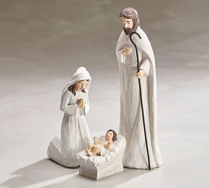 3 PIECE WHITE WASH WOOD NATIVITY