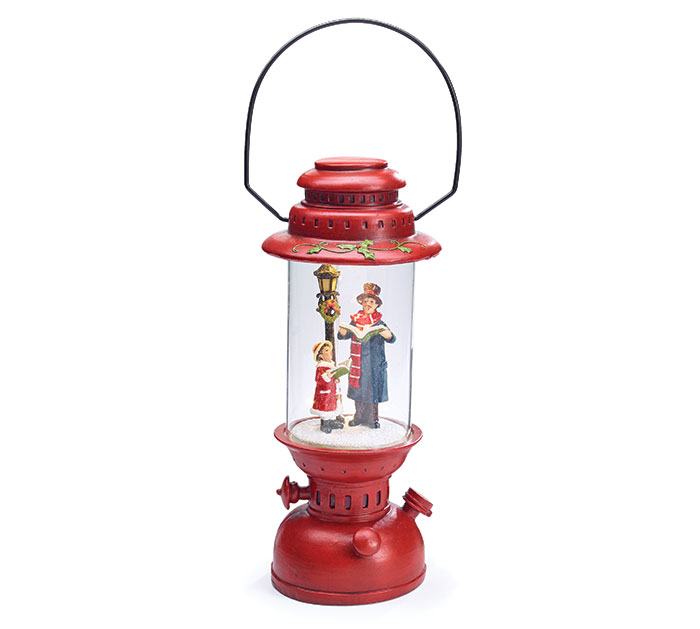 RED LIGHTED LANTERN WITH CAROLERS