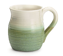 MATTE GREEN/GLAZED WHITE RIBBED MUG