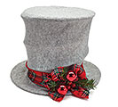GRAY TOP HAT TARTAN RIBBON TREE TOPPER
