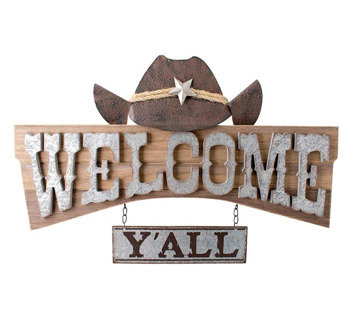 WELCOME Y'ALL COWBOY HAT WALL HANGING