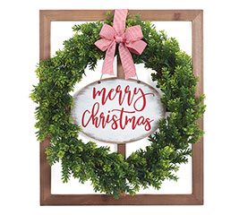 MERRY CHRISTMAS WREATH IN WINDOW HANGING