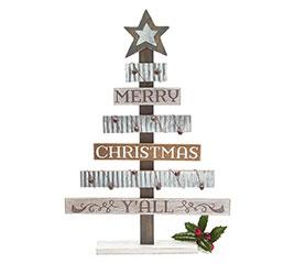 WOOD AND TIN CHRISTMAS TREE DECOR