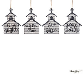 TIN CHURCH ORNAMENT ASSORTMENT