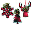 RED AND BLACK PLAID ORNAMENT ASST
