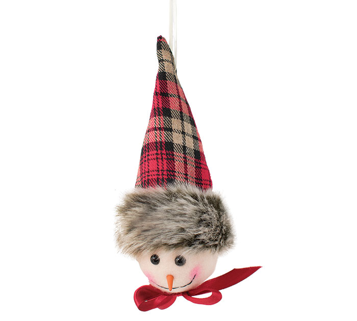 SNOWMAN HEAD WITH PLAID HAT ORNAMENT