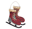 RED/BLACK PLAID WALL HANGING ICE SKATES