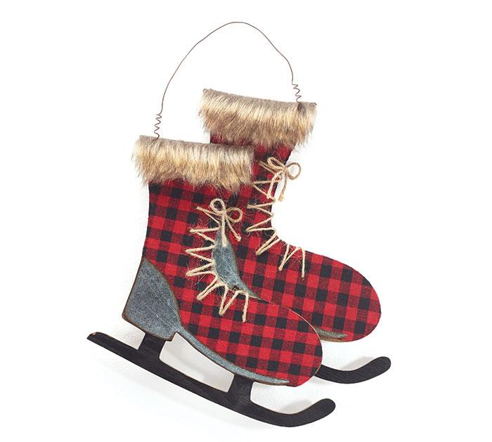RED/BLACK PLAID WALL HANGING ICE SKATES