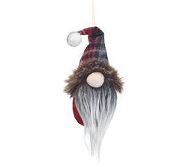 GNOME HEAD ORNAMENT WITH PLAID HAT