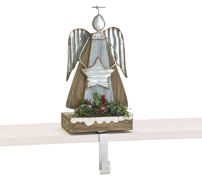 WOOD AND TIN ANGEL STOCKING HOLDER