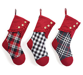 ASSORTED RED/BLACK/WHITE PLAID STOCKINGS