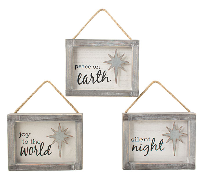 WOODEN FRAME ASSORTED MESSAGE ORNAMENTS
