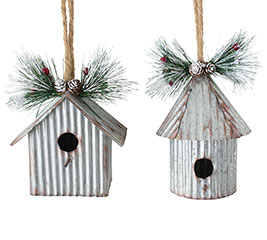 CORRUGATED TIN BIRDHOUSE SHAPE ORNAMENT