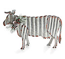 CORRUGATED TIN COW WITH GREENERY ACCENTS