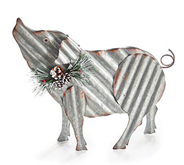 CORRUGATED TIN PIG WITH GREENERY ACCENTS