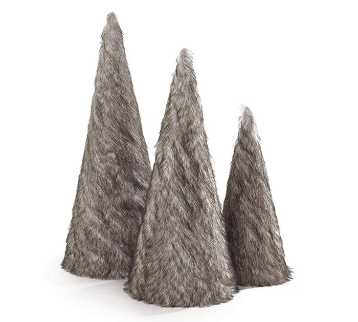 FAUX FUR CONE SHAPED TREE ASSORTMENT