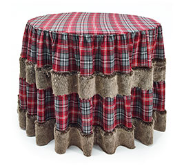 RED/GRAY PLAID WITH FAUX FUR TABLECLOTH
