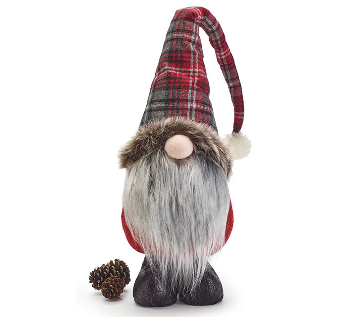 GNOME DECOR WITH LONG GRAY FUR BEARD