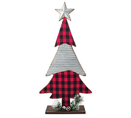 RED/BLACK CHECK AND CORRUGATED TIN TREE