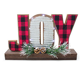 LED JOY SIGN IN RED/BLACK CHECK  TIN