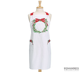 WHITE APRON WITH WREATH