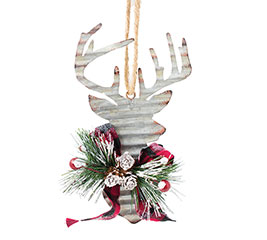 RED/BLACK CHECK TIN DEER HEAD ORNAMENT