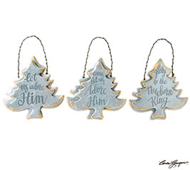 CHRISTMAS TREE SHAPE MESSAGE ORNAMENTS