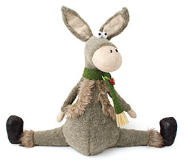 "18"" WINTER DONKEY WITH VEST AND SCARF"