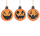 JACK-O-LANTERN WOOD SLICE ORNAMENT ASTD