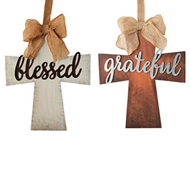 CROSS WALL HANGING ASTD GRATEFUL/BLESSED