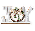 "WHITE WOODEN SLAT ""JOY"" SHELF SITTER"