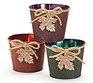 "ASTD COLOR 4"" TIN POT COVER W/LEAF CHARM"