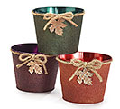 "ASTD COLOR 6"" TIN POT COVER W/LEAF CHARM"