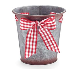 RED/WHITE GINGHAM BOW POT COVER