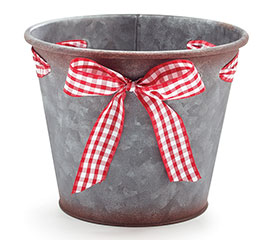 RED GINGHAM BOW POT COVER