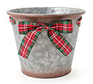 TARTAN PLAID BOW POT COVER