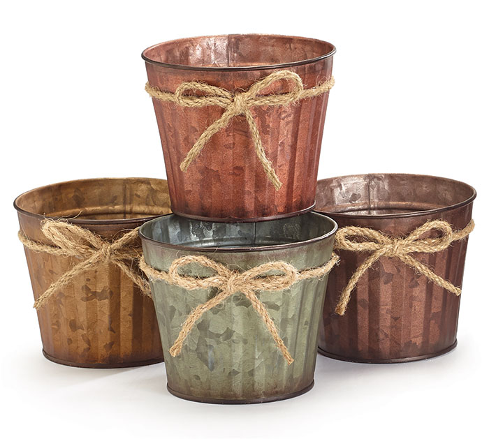 "ASTD COLOR 4"" TIN POT COVERS W/TWINE BOW"
