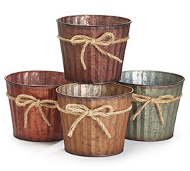 "ASTD COLOR 6"" TIN POT COVERS W/TWINE BOW"