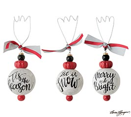 CERAMIC ORNAMENTS W/ ASTD CHRISTMAS MSGS