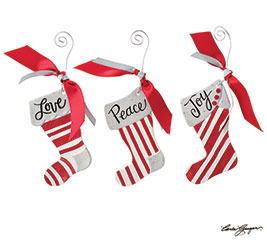 CERAMIC STOCKING ORNAMENTS WITH MESSAGES