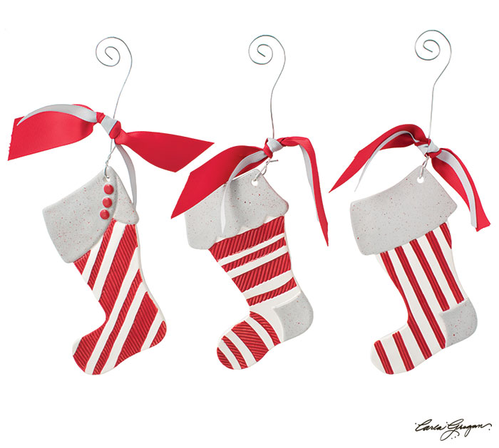 ASSORTED CERAMIC CHRISTMAS STOCKINGS