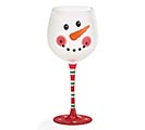 SNOWMAN FACE ON FROSTED GLASS WINE GLASS