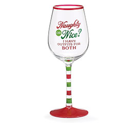NAUGHTY OR NICE/OUTFIT WINE GLASS