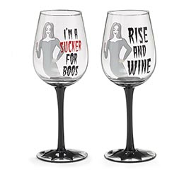 SUCKER FOR BOOS/RISE AND WINE WINE GLASS