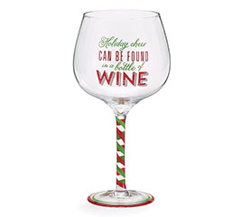 HOLIDAY CHEER OVERSIZED WINE GLASS