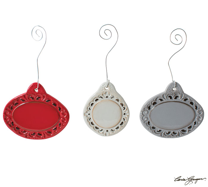 BLANK CERAMIC MEDALLION ORNAMENTS