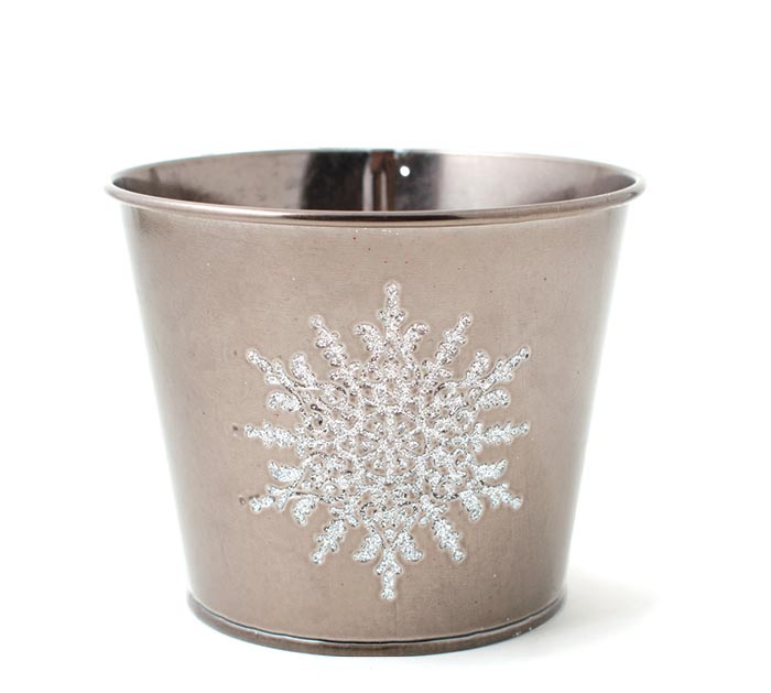 "4"" POT COVER WITH RAISED WHITE SNOWFLAKE"