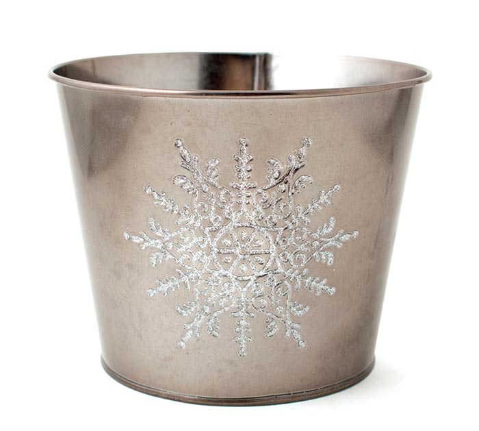 "6"" POT COVER WITH RAISED WHITE SNOWFLAKE"