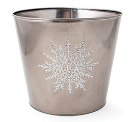 """8"""" POT COVER WITH RAISED WHITE SNOWFLAKE"""